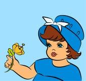 Bambina del fumetto dell'annata. Fotografia Stock Libera da Diritti