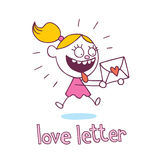 Bambina della lettera di amore nell'amore Immagini Stock