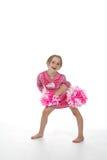 Bambina della ragazza pon pon nel colore rosa Fotografie Stock