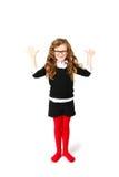 Bambina di affari che rende le vostre mani alte o che accoglie sulla b bianca Fotografia Stock Libera da Diritti