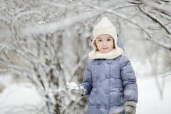 Bambina divertendosi il giorno di inverno Fotografia Stock