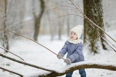 Bambina divertendosi il giorno di inverno Fotografia Stock Libera da Diritti