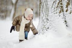 Bambina divertendosi il giorno di inverno Fotografie Stock