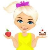 Bambina dubbiosa che tiene una mela e un dessert royalty illustrazione gratis