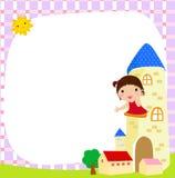 Bambina e blocco per grafici bianco Fotografia Stock Libera da Diritti