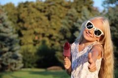 bambina e gelato Fotografia Stock