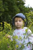Bambina e piante sveglie Fotografia Stock