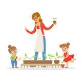 Bambina e ragazzo che aiutano il loro insegnante a preoccuparsi per le piante durante la lezione di botanica nel vettore del fume illustrazione vettoriale