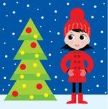 Bambina e un pelliccia-albero royalty illustrazione gratis