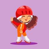 Bambina felice che pattina nel casco Fotografia Stock