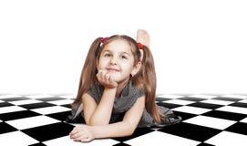 Bambina graziosa con capelli lunghi Fotografia Stock