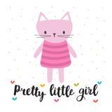 Bambina graziosa Piccolo gattino sveglio Carta romantica, cartolina d'auguri o cartolina Illustrazione con il bello gatto Immagini Stock Libere da Diritti