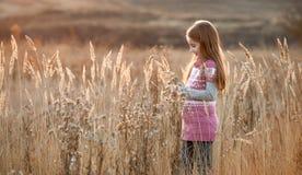 Bambina graziosa in un campo di autunno Immagini Stock