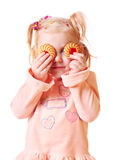 Bambina isolata su bianco Fotografia Stock