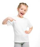 Bambina in maglietta bianca Fotografia Stock