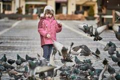 Bambina nei piccioni d'alimentazione di un quadrato di città Fotografia Stock