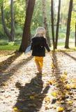 Bambina nel parco con la valigia Fotografia Stock