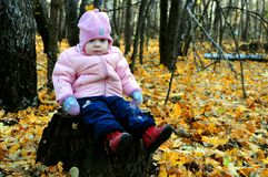 Bambina nel parco nei colori di autunno immagini stock