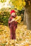 Bambina nella sosta di autunno Immagine Stock