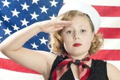 Bambina patriottica Fotografia Stock