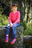 Bambina in pattini dentellare Fotografia Stock Libera da Diritti
