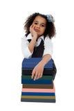 Bambina preoccupata prima dei suoi esami Fotografia Stock Libera da Diritti