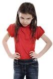 Bambina scontrosa Fotografia Stock