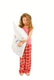 Bambina scontrosa con il cuscino Fotografia Stock Libera da Diritti