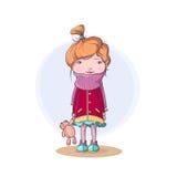 Bambina sola che tiene il suo orsacchiotto - illustrazione sveglia di vettore Fotografia Stock