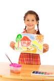 Bambina sorridente con la pittura dell'acquerello Fotografie Stock