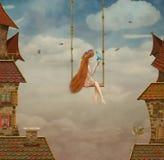 Bambina su un'oscillazione, tetti di mattonelle con il cielo illustrazione di stock