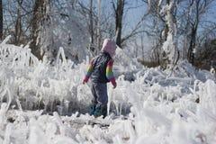 Bambina su una passeggiata fra il ghiaccio fotografia stock libera da diritti