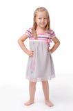 Bambina su una priorità bassa bianca Fotografia Stock Libera da Diritti