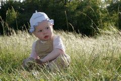 Bambina sul prato pieno di sole Fotografia Stock