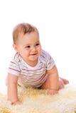 Bambina sulla pelle di pecora Immagine Stock Libera da Diritti