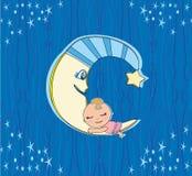 Bambina sveglia che dorme sulla luna Immagine Stock