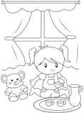 Bambina sveglia che gioca pagina all'interno di coloritura royalty illustrazione gratis