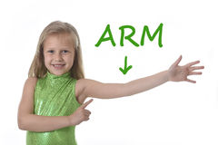 Bambina sveglia che indica il suo braccio nelle parti del corpo che imparano le parole inglesi alla scuola Fotografia Stock