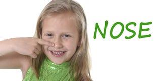 Bambina sveglia che indica il suo naso nelle parti del corpo che imparano le parole inglesi alla scuola Fotografia Stock