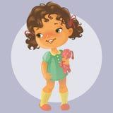 Bambina sveglia con il giocattolo Fotografia Stock Libera da Diritti