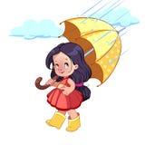 Bambina sveglia con l'ombrello Immagine Stock