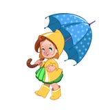 Bambina sveglia con l'ombrello Fotografia Stock Libera da Diritti