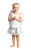 Bambina sveglia con le ali di angelo sopra bianco Immagine Stock Libera da Diritti