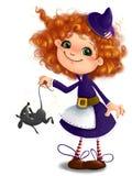 Bambina sveglia in costume della strega di Halloween con il fondo trasparente di stile del fumetto di clipart del topo Fotografia Stock