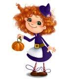 Bambina sveglia in costume della strega di Halloween con il fondo trasparente di stile del fumetto di clipart della zucca Fotografie Stock