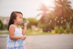 Bambina sveglia divertendosi con le bolle di sapone di salto Fotografia Stock Libera da Diritti