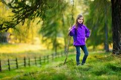 Bambina sveglia divertendosi durante l'aumento della foresta il bello giorno di autunno in alpi italiane Fotografie Stock Libere da Diritti