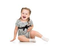 Bambina sveglia isolata su bianco Fotografie Stock Libere da Diritti