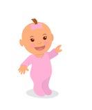 Bambina sveglia nel rosa che indica il suo dito La ragazza neonata è isolata su un fondo bianco Immagini Stock Libere da Diritti