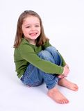 Bambina sveglia su bianco Fotografie Stock Libere da Diritti